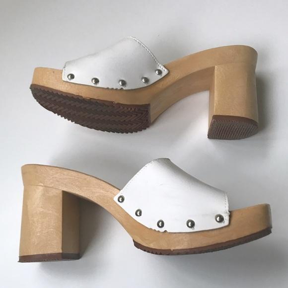White Wooden 7s Style Mule Heels Size 8